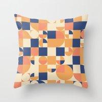 Orange & Navy  Throw Pillow