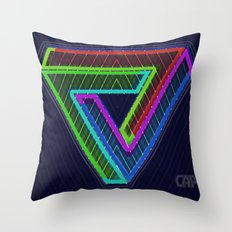 TRIFORCE #3 Impossible Triangle Psychedelic Optical Illusion Throw Pillow