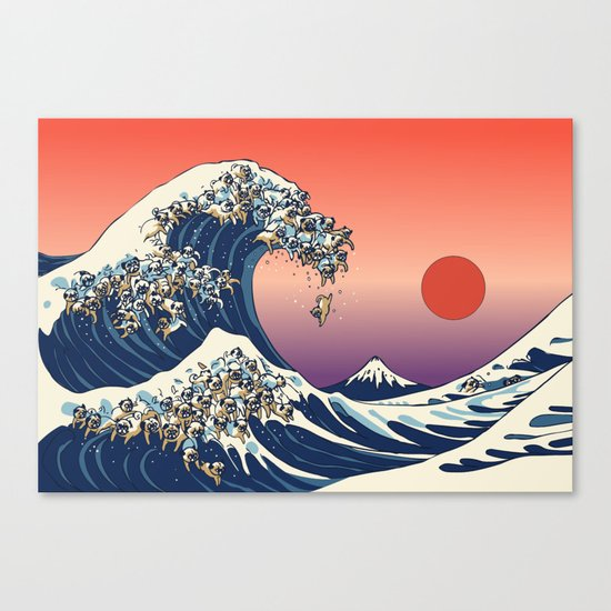 The Great Wave Of Pug Canvas Print By Huebucket Society6