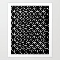 Brushed Circles Inverse Art Print