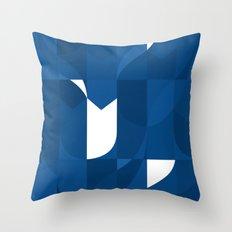 Blue Stamp Throw Pillow