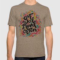 EAT & TRAVEL Mens Fitted Tee Tri-Coffee SMALL