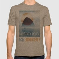 Haystack Rock of Cannon Beach, Oregon Mens Fitted Tee Tri-Coffee SMALL