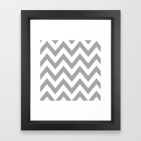 Gray Chevron Framed Art Print