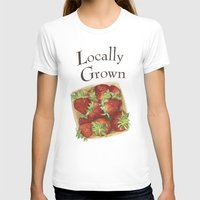 Strawberries Womens Fitted Tee White SMALL