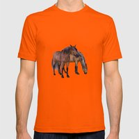 Horses in a misty dawn Mens Fitted Tee Orange SMALL