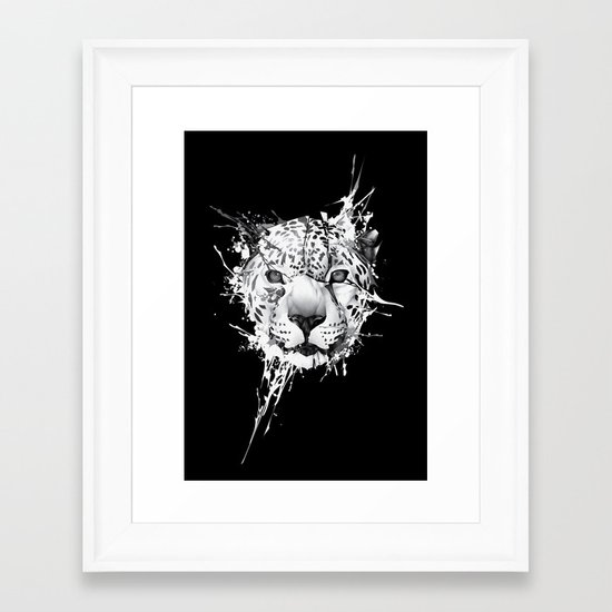 Leopard on black background Framed Art Print