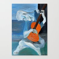 Picasso's Blue Mn With G… Canvas Print