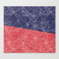 Spiderwebs - Webs on Red and Navy Blue Canvas Print