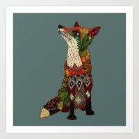 Fox Love Juniper Art Print