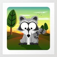 Woodland Animals Series II. raccoon Art Print