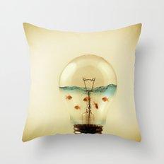 gold fish globe Throw Pillow