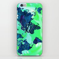 World Map in Blue and Green iPhone & iPod Skin