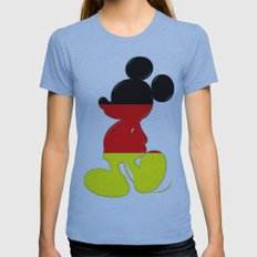 German Mickey Maus Womens Fitted Tee Athletic Blue SMALL