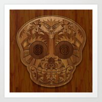 Wooden Sugar Skull Art Print