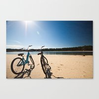 2 bicycles on beach Canvas Print