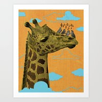 Giraffe & Singing Birds … Art Print