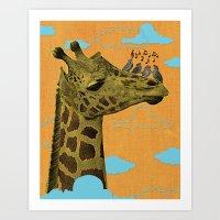 Giraffe & Singing Birds Print Art Print