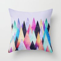 Colorful Abstract Geometric Triangle Peak Wood's  Throw Pillow