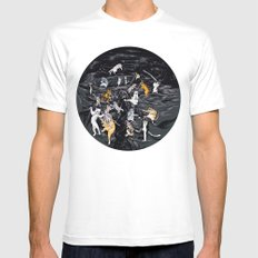 Meowlin Temple White SMALL Mens Fitted Tee