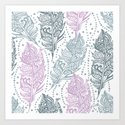 patterned feathers Art Print