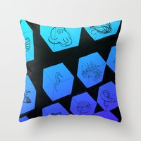 Sea Creature Cubes Throw Pillow