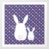 Bunny / Vintage pattern #4 Art Print