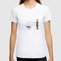 Walking The Dog  Womens Fitted Tee Ash Grey SMALL