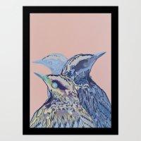 Digital Watercolor Birds Art Print
