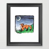 Fox And The Moon Framed Art Print