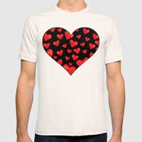 Hearts Motif Black Mens Fitted Tee Natural SMALL