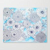 Floral Doodle in Blue Canvas Print