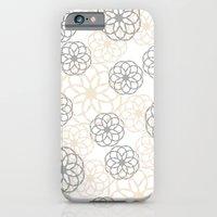 iPhone Cases featuring Tan & Silver Floral Pattern by Christina Rollo