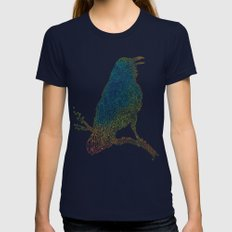 The Iridescent Raven Womens Fitted Tee Navy MEDIUM