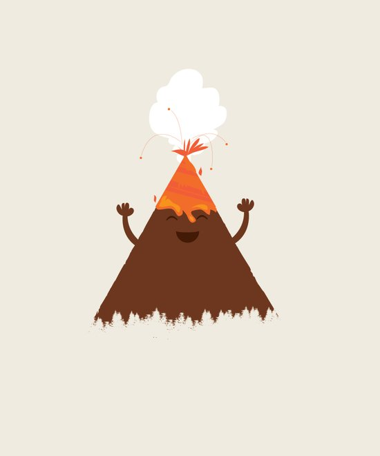 Volcanoes Love to Party Art Print