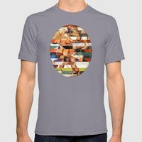 Glitch Pin-Up Redux: Peyton Mens Fitted Tee Slate SMALL