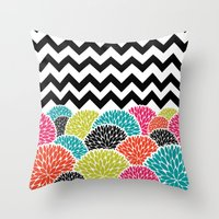 Tropical Flowers Chevron Throw Pillow