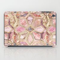 Geometric Gilded Stone Tiles in Blush Pink, Peach and Coral iPad Case