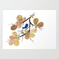 Bird Perched On A Tree Art Print