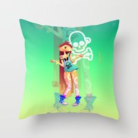 Rock girl Throw Pillow