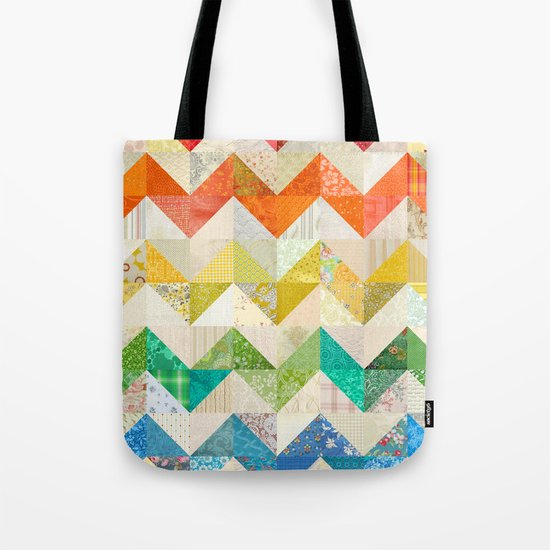 Chevron Rainbow Quilt Tote Bag