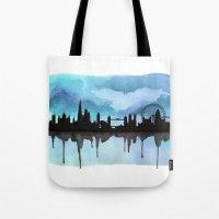 Turquoise London Skyline… Tote Bag