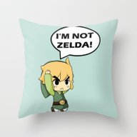Throw Pillow featuring I'm Not Zelda! (link Fro… by TxzDesign
