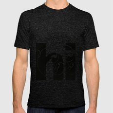 Swirly hello Mens Fitted Tee Tri-Black SMALL