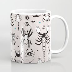 Creepy grunge insect and spider illustration pattern print Mug