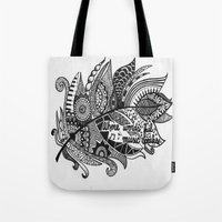 Zentangle Feather Tote Bag