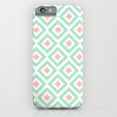 Mint and Coral Diamonds Ikat Pattern Slim Case iPhone 6s
