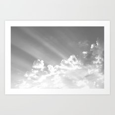 Cotton clouds and sunrays Art Print
