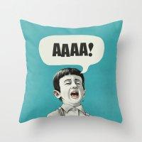 AAAA! (Blue) Throw Pillow