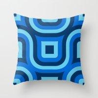Blue Truchet Pattern Throw Pillow